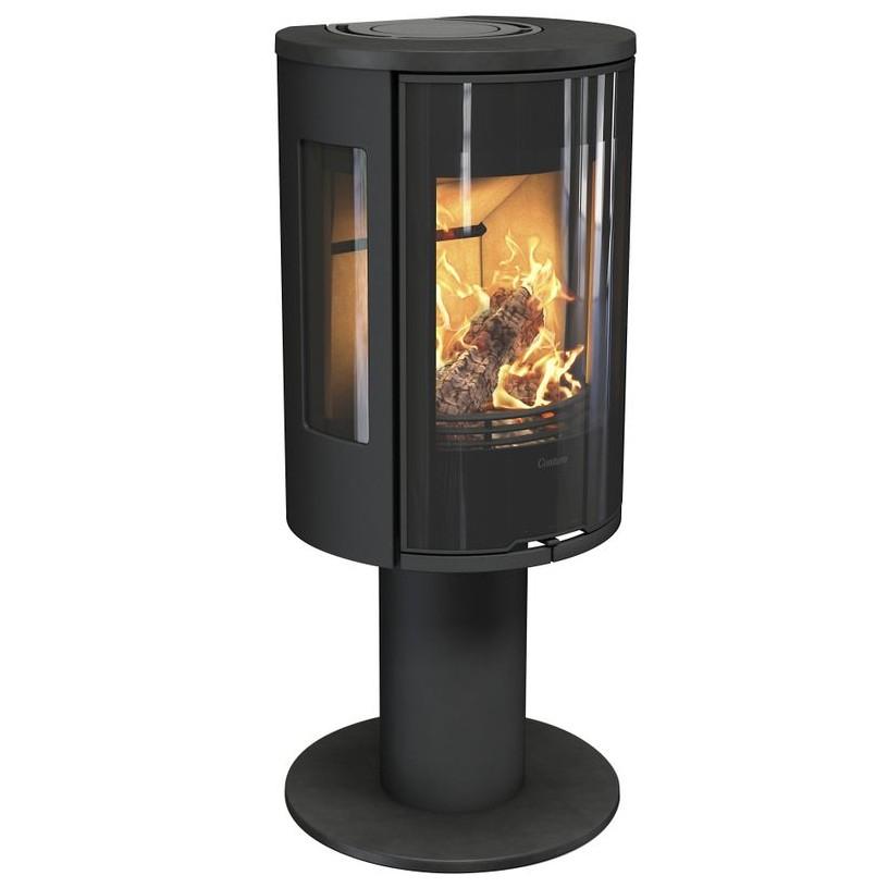 Krosnelė Contura 586:1 Style, juodu korpusu, ketiniu viršumi ir ketinėmis durelėmis, trimis stiklais